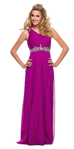 One Strap Magenta Prom Gown Chiffon Ruched Top Beaded Waist