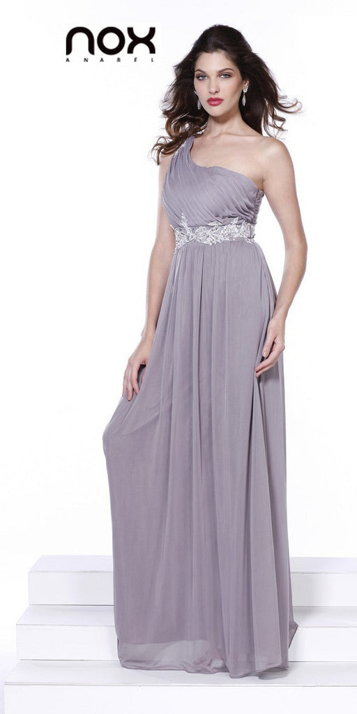 One Strap Mocha Prom Gown Chiffon Ruched Top Beaded Waist