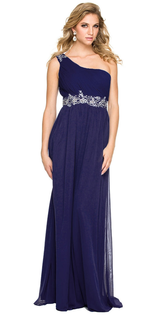 One Strap Navy Blue Prom Gown Chiffon Ruched Top Beaded Waist