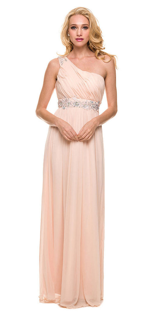 One Strap Nude Prom Gown Chiffon Ruched Top Beaded Waist