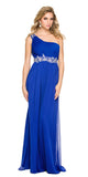 One Strap Royal Blue Prom Gown Chiffon Ruched Top Beaded Waist
