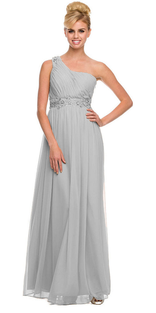 One Strap Silver Prom Gown Chiffon Ruched Top Beaded Waist