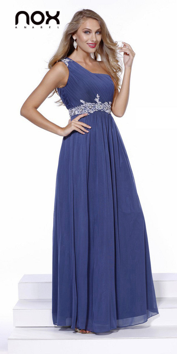 One Strap Steel Prom Gown Chiffon Ruched Top Beaded Waist