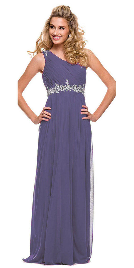 One Strap Violet Prom Gown Chiffon Ruched Top Beaded Waist