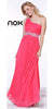 One Strap Watermelon Prom Gown Chiffon Ruched Top Beaded Waist