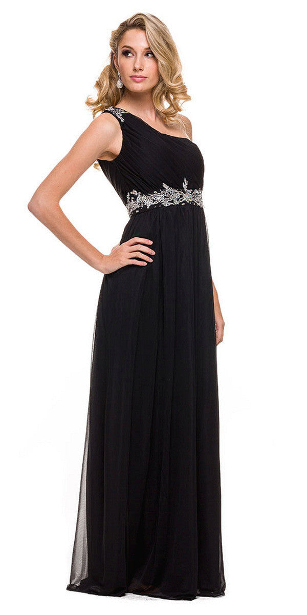 One Strap Black Prom Gown Chiffon Ruched Top Beaded Waist