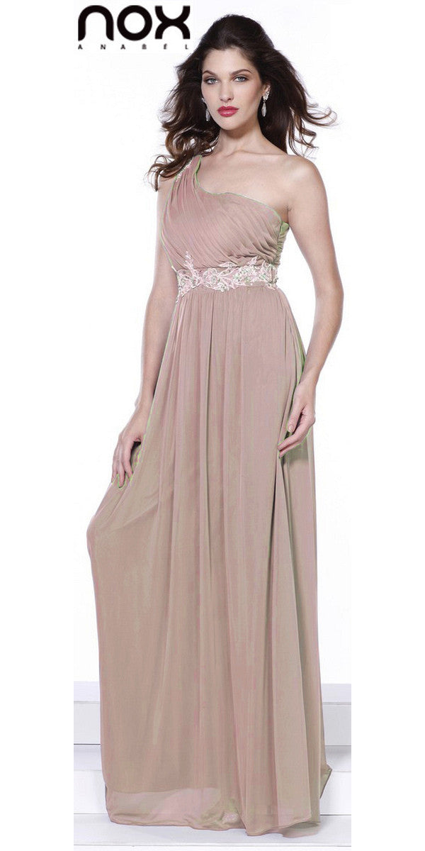 One Strap Blush/Tan Prom Gown Chiffon Ruched Top Beaded Waist