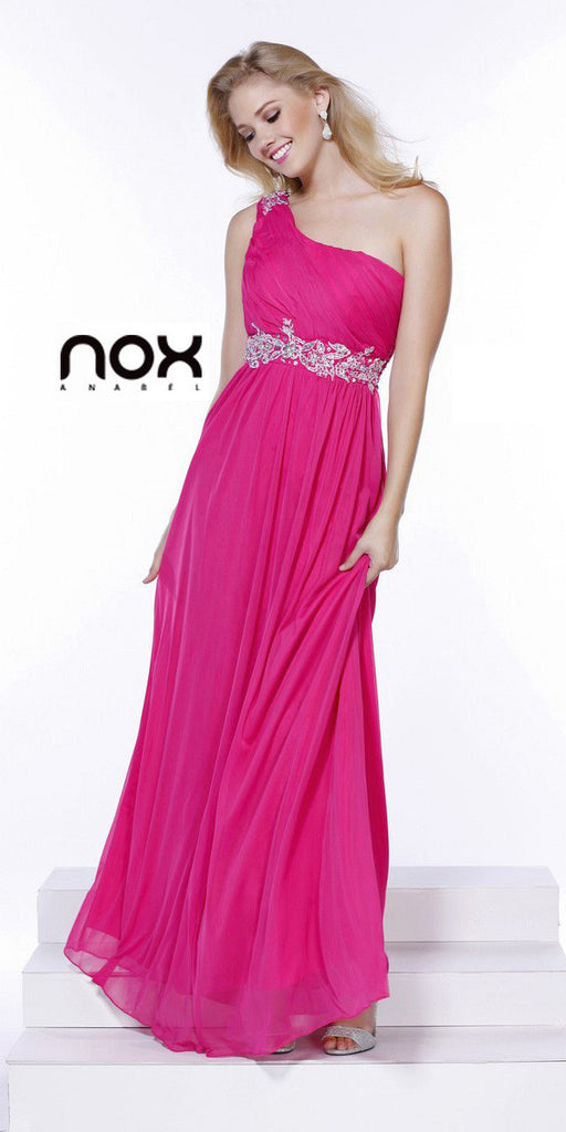 One Strap Fuchsia Prom Gown Chiffon Ruched Top Beaded Waist