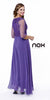 Plus Size A Line Dress Violet V Neck Sheer Sleeves Empire
