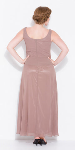 Plus Size Mink/Tan Mother of Bride Gown Includes Chiffon Jacket