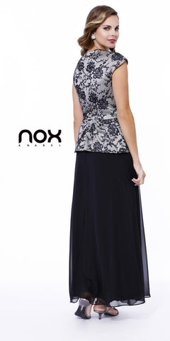 Plus Size Black Tie Formal Gown Black Silver Cap Sleeves