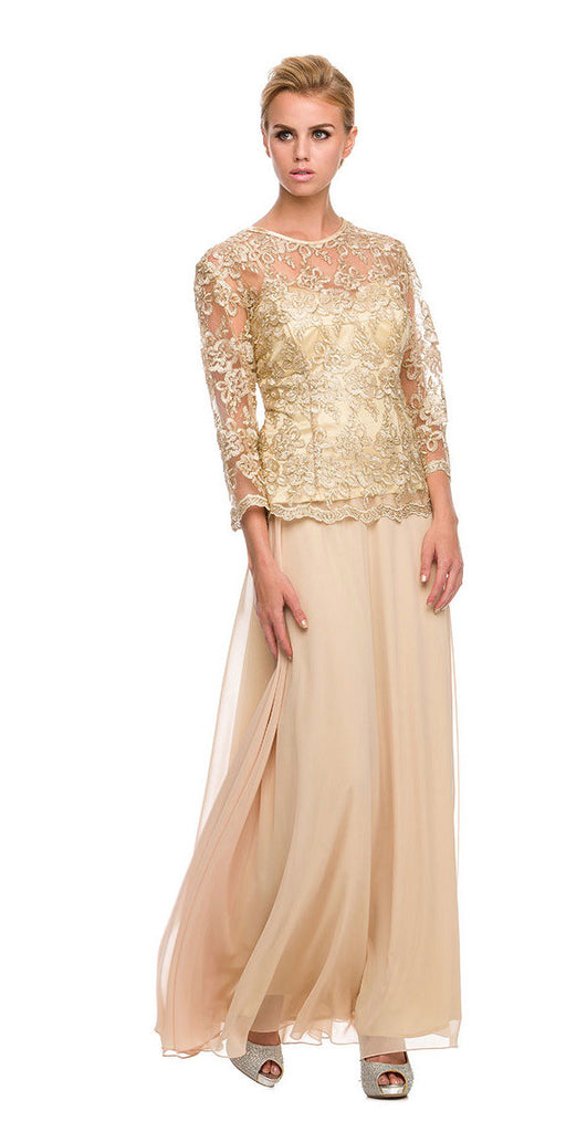 Plus Size Illusion Neck Formal Dress Gold Long Sleeve