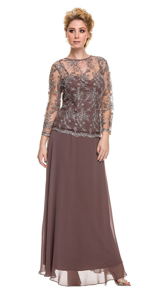 Plus Size Illusion Neck Formal Dress Mocha/Silver Long Sleeve