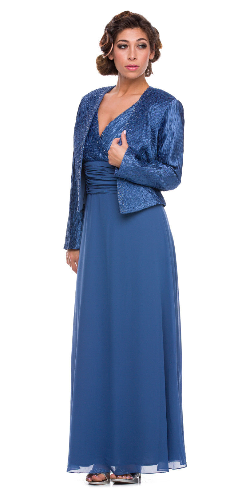 Plus Size Mother Groom Gown Deep Blue Long Jacket Chiffon