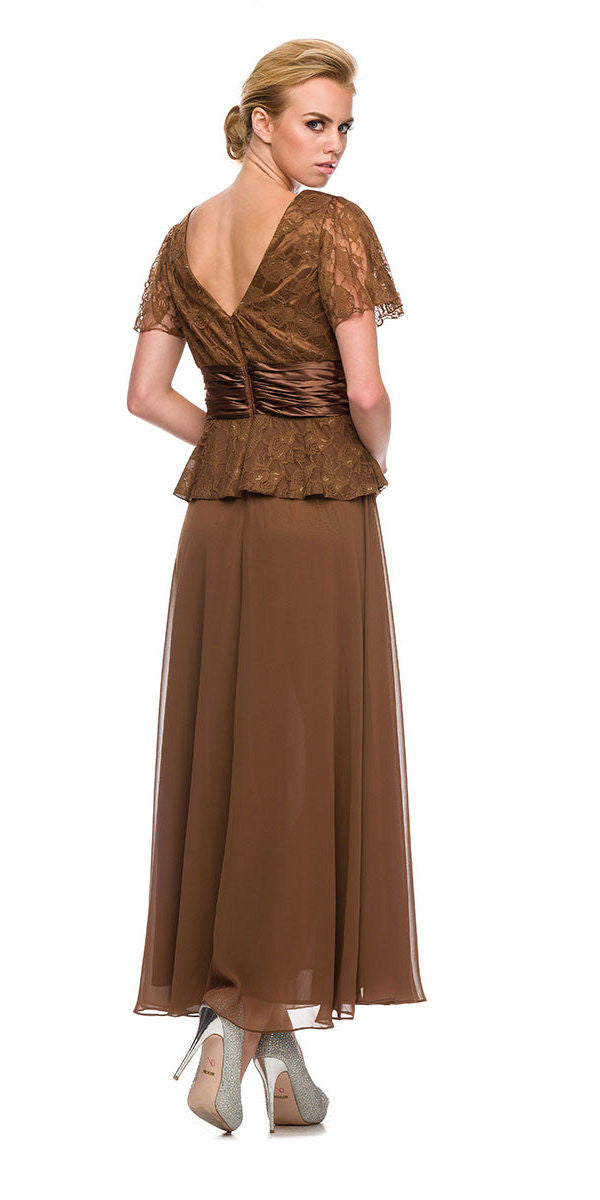 Plus Size Peplum Mother of Groom Dress Brown V Neck Ankle Length