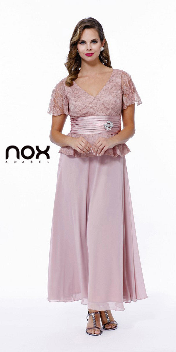 Plus Size Peplum Mother of Groom Dress Rose V Neck Ankle Length