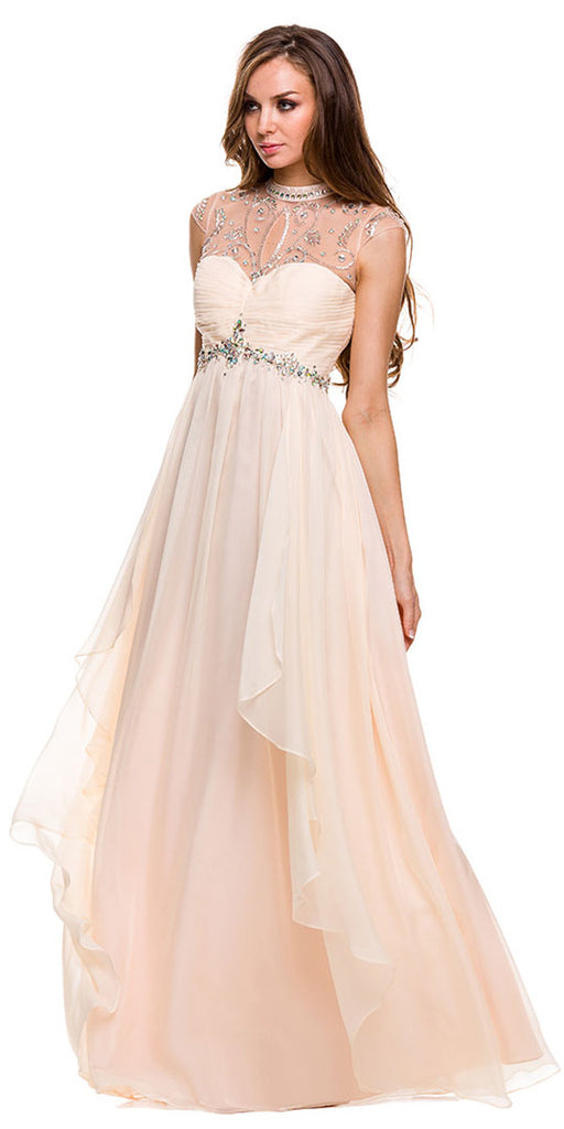 Prom Gown Long Nude Chiffon Empire Cap Sleeves High Neck