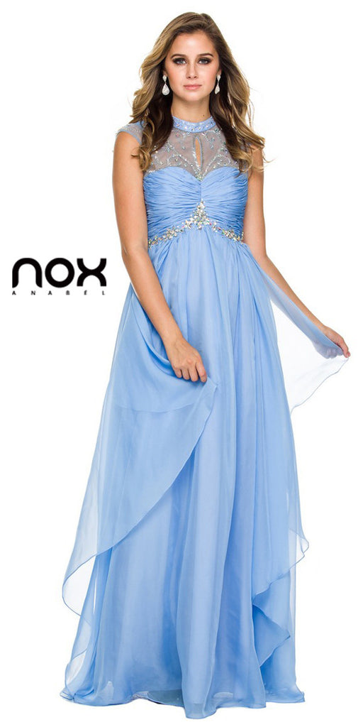 Prom Gown Long Periwinkle Chiffon Empire Cap Sleeves High Neck