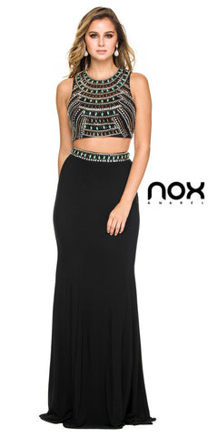 Red Carpet Two Piece Prom Dress Black Long Jersey