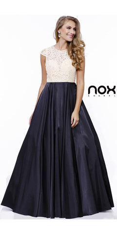 Satin/Lace Prom Gown Black Gold Lace Top A Line Cap Sleeve