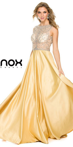 Sheer Embellished Bodice Prom Gown Gold Satin Skirt