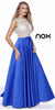 Sheer Embellished Bodice Prom Gown Royal Blue Satin Skirt