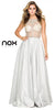Sheer Embellished Bodice Prom Gown Silver Satin Skirt