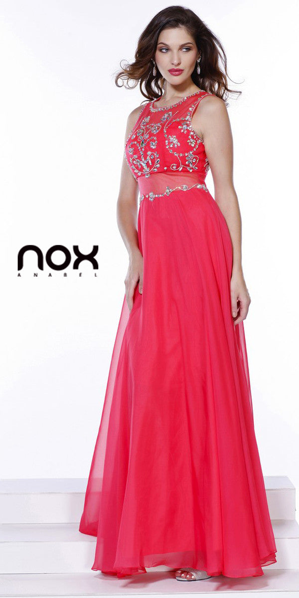 Sheer Waist Prom Gown Watermelon Chiffon Long Sleeveless Beads