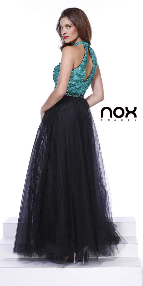 Shimmering Two Piece Black Green Prom Gown Tulle Skirt Sequin Top ...