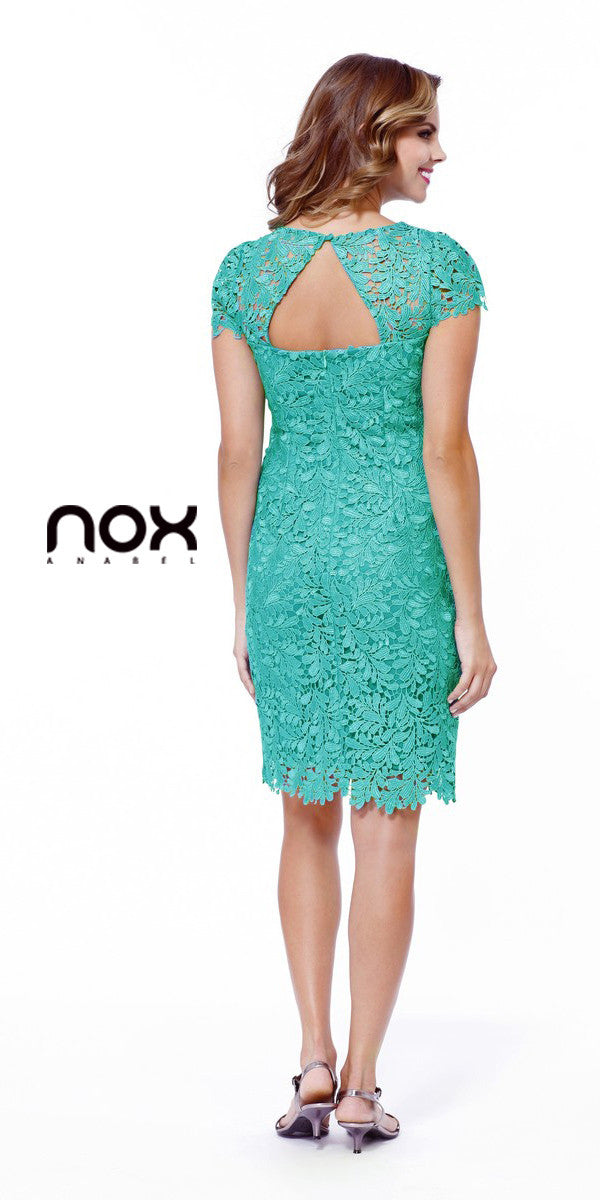 Short Knee Length Lace Dress Jade Short Sleeves Keyhole