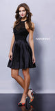 Short Lace Satin Halter Prom Dress Black A Line Flare