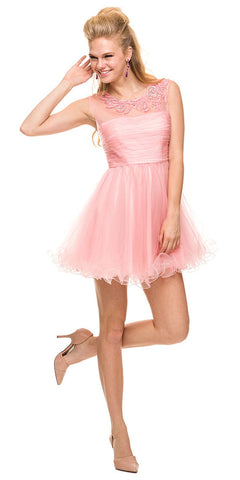 Short Poofy Tulle Prom Dress Bashful Pink Illusion Beaded Neckline