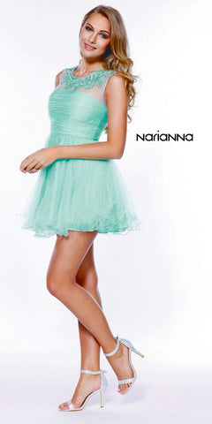 Short Poofy Tulle Prom Dress Mint Green Illusion Beaded Neckline