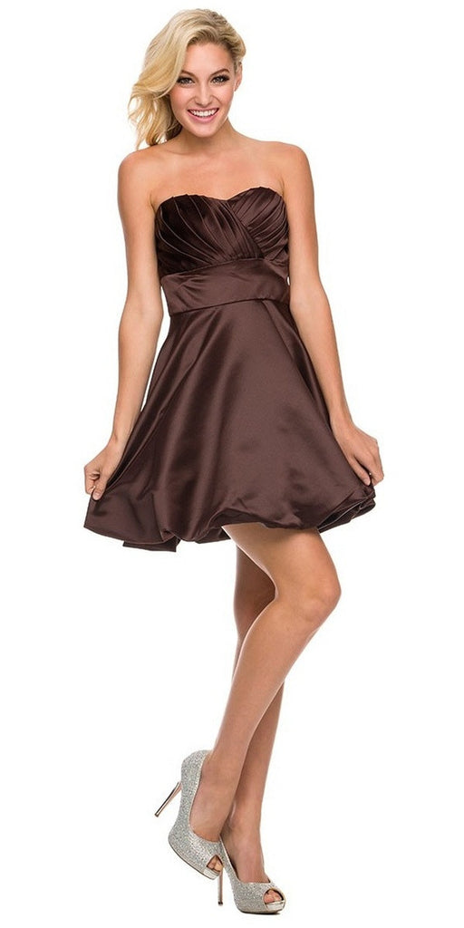 Short Satin Bubble Dress Brown A Line Strapless Sweetheart