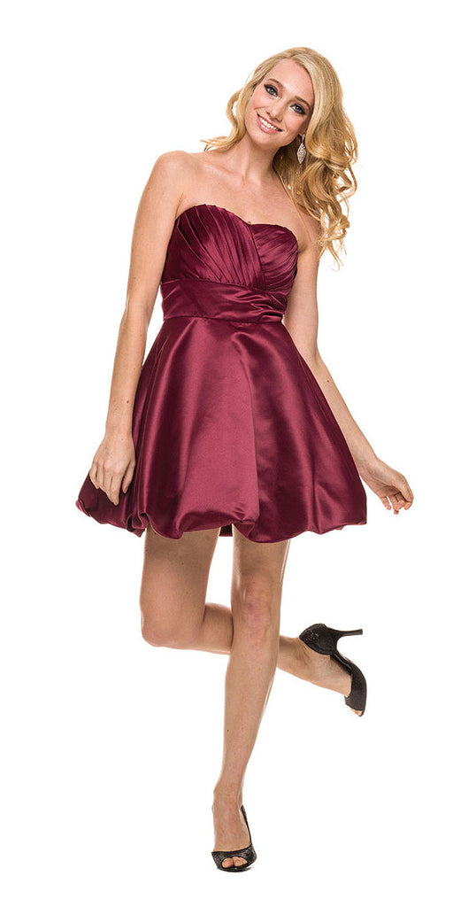 Short Satin Bubble Dress Burgundy A Line Strapless Sweetheart