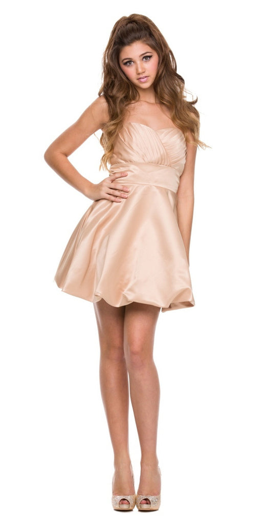 Short Satin Bubble Dress Gold A Line Strapless Sweetheart