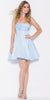 Short Satin Bubble Dress Light Blue A Line Strapless Sweetheart