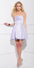 Short Satin Bubble Dress Lilac A Line Strapless Sweetheart