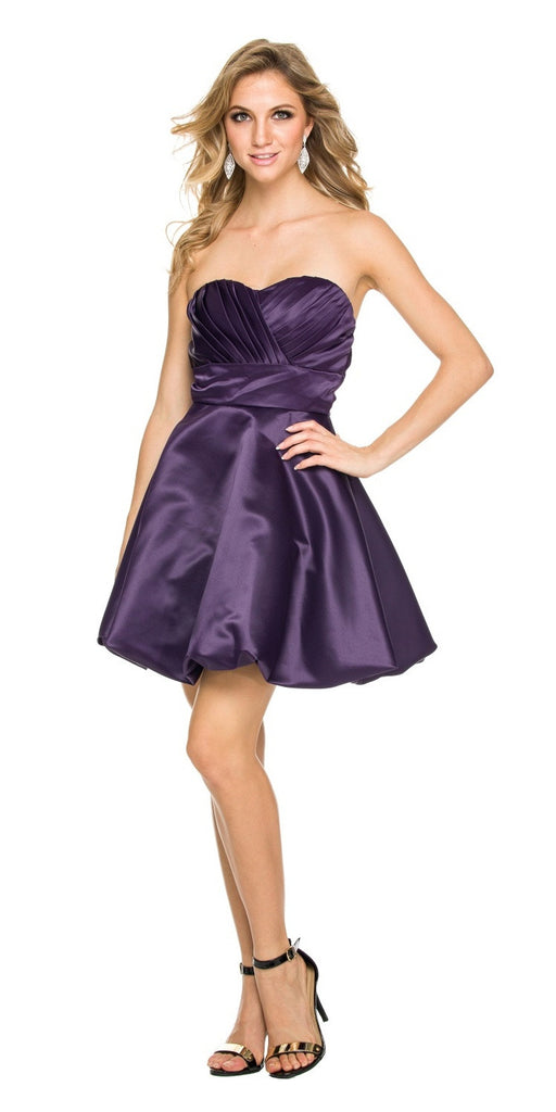 Short Satin Bubble Dress Plum A Line Strapless Sweetheart