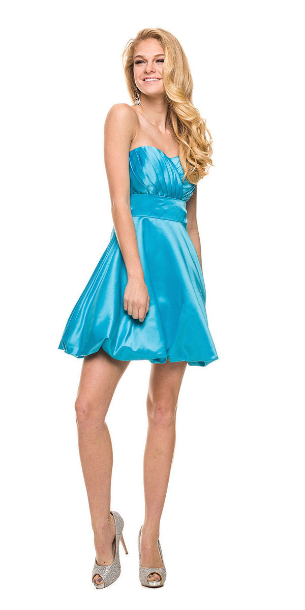 Short Satin Bubble Dress Turquoise A Line Strapless Sweetheart
