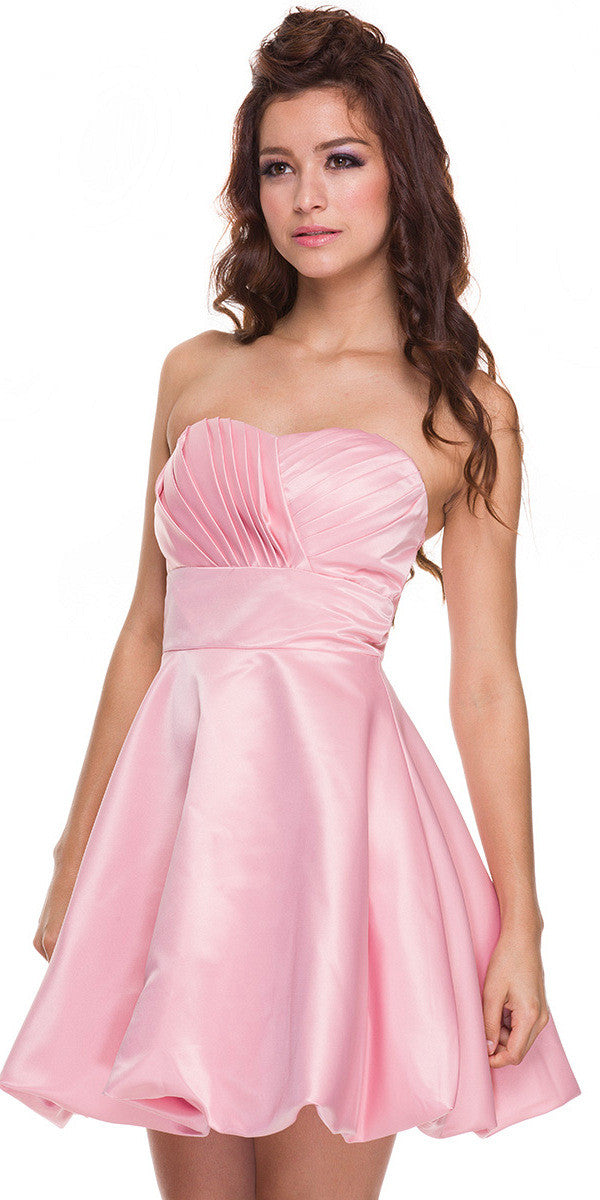 Short Satin Bubble Dress Rose A Line Strapless Sweetheart