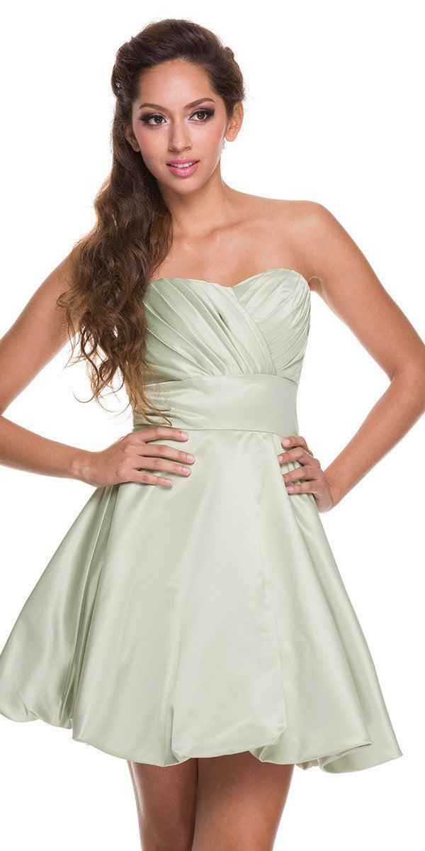 Short Satin Bubble Dress Sage Green A Line Strapless Sweetheart