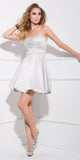 Short Satin Bubble Dress Silver A Line Strapless Sweetheart