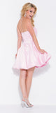 Short Satin Bubble Dress Baby Pink A Line Strapless Sweetheart