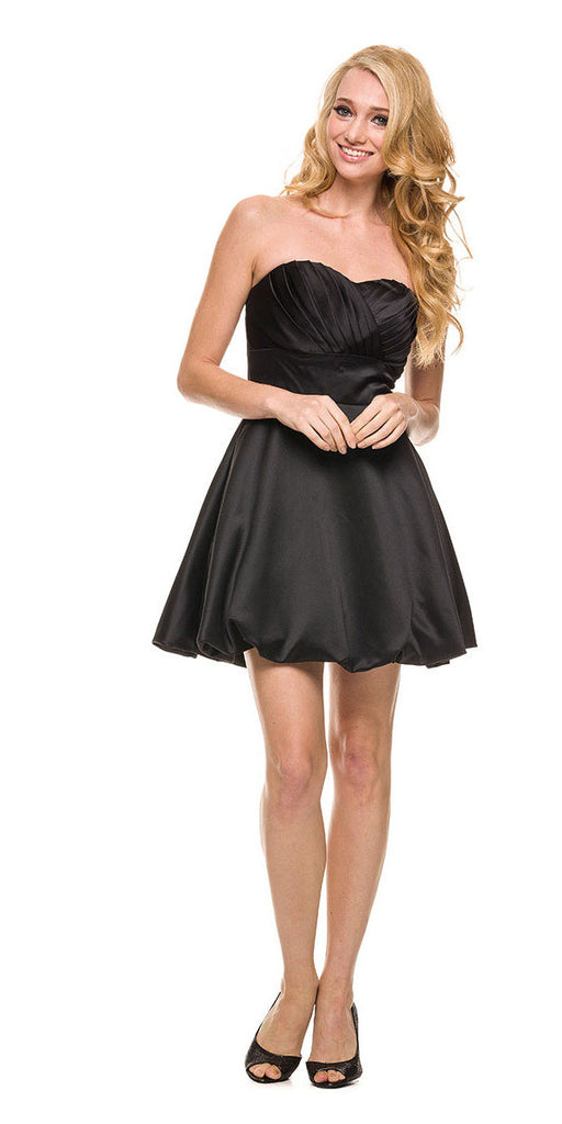 Short Satin Bubble Dress Black A Line Strapless Sweetheart