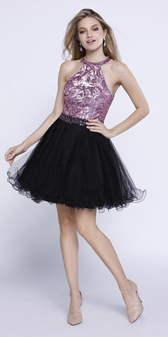 Short Sequin Top Homecoming Dress Pink/Black Tulle Poofy Skirt