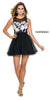 Short Sleeveless Dress Black Illusion Floral Applique Bodice