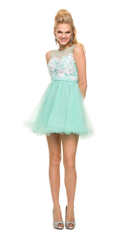 Short Sleeveless Dress Mint Green Illusion Floral Applique Bodice