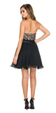 Short Strapless Sweetheart Sweet 16 Dress Black Lace Bodice