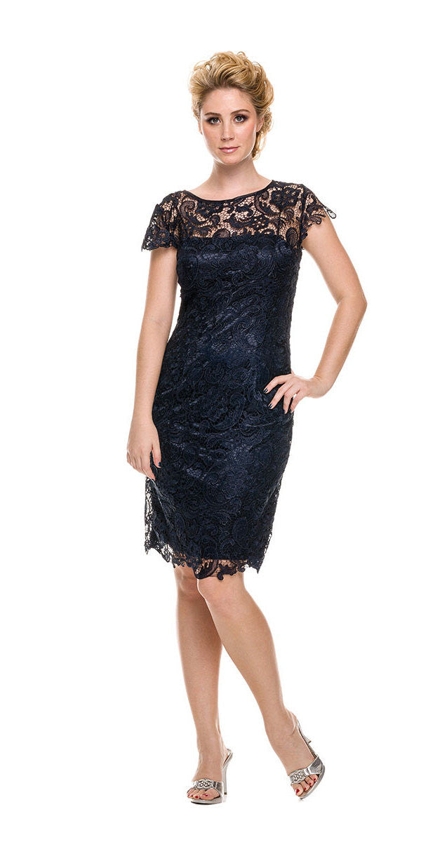 Short Vintage-Like Lace Dress Navy Blue Cap Sleeves